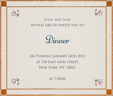 An invitation card for dinner purplemoon corporate invitation card for dinner klejonka invitation samples stopboris Images