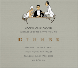 romantic dinner menu invitations