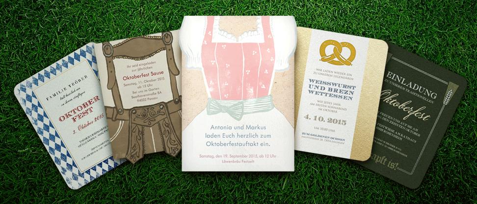 Einladungskarten für ein privates oder geschäftliches Oktoberfest.