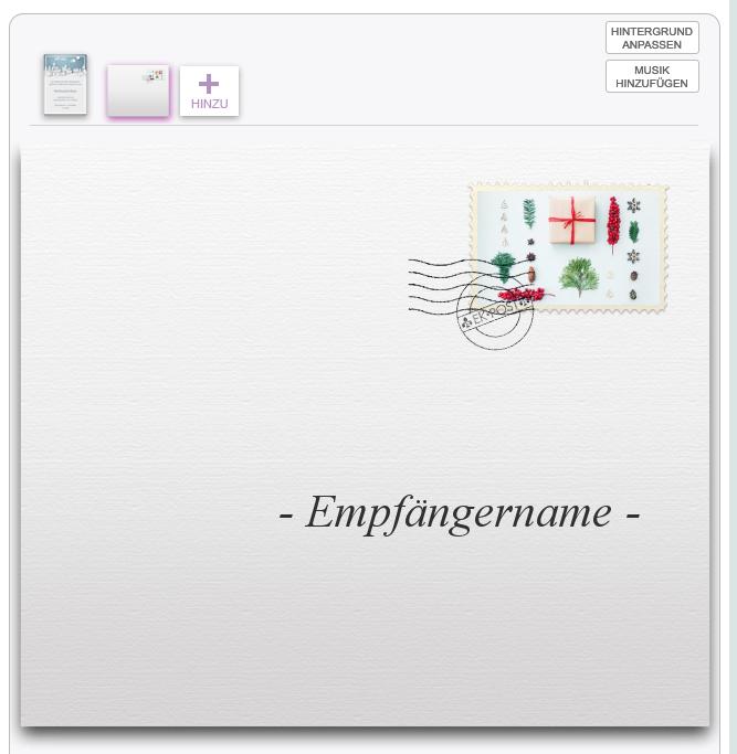 Beispiel eines animierten Umschlags mit Briefmarke mit weihnachtlichem Foto aus der Foto-Kollektion.