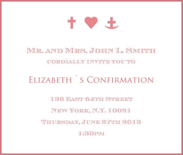 White Christening and Confirmation Invitation design with red border and red symbols.