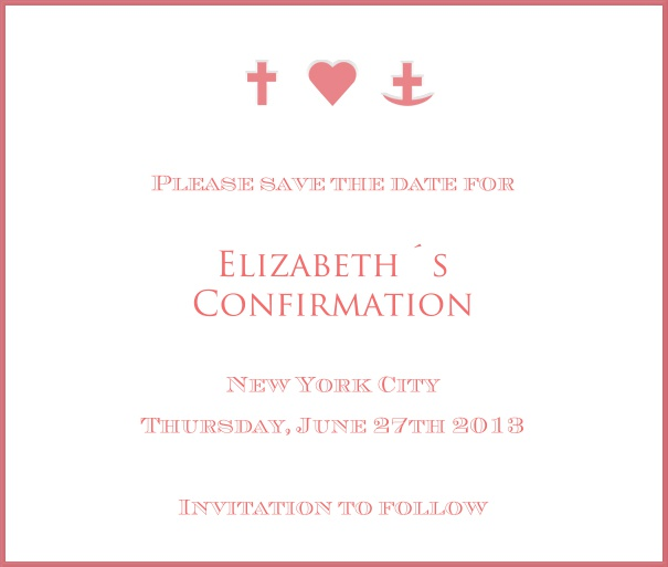White Christening and Confirmation Save the Date template with red border and symbols.