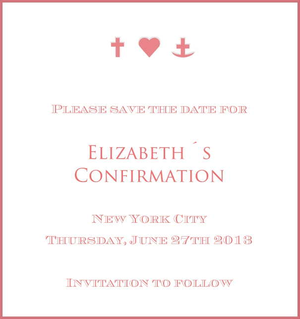 High format White Christening and Confirmation Save the Date template with red border and symbols.