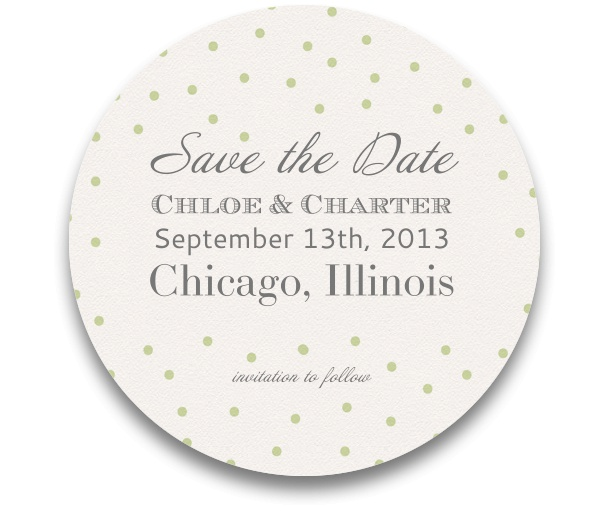 Save the Date Card for parties and with round design and yellow-green dots.