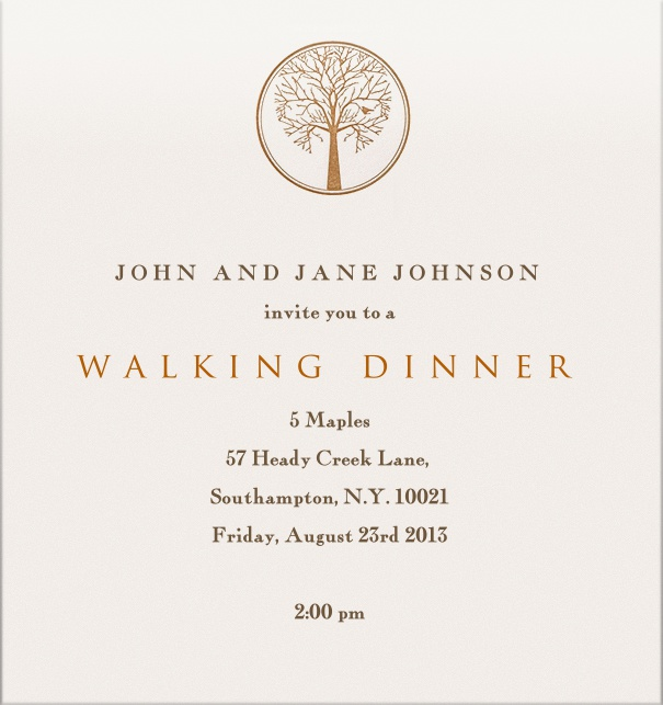 Dinner or Wedding Invitation with tree at the topcentre.