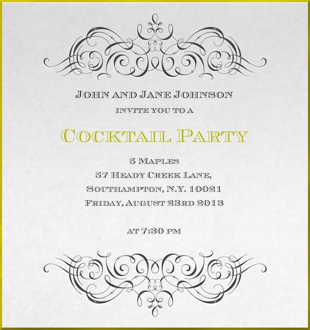 Formal Wedding invitation for noble birthday invitation with golden border.