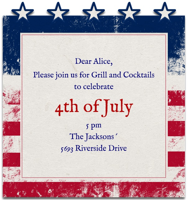 Fourth of July Invitation Card with Stars on top and American Flag Background.