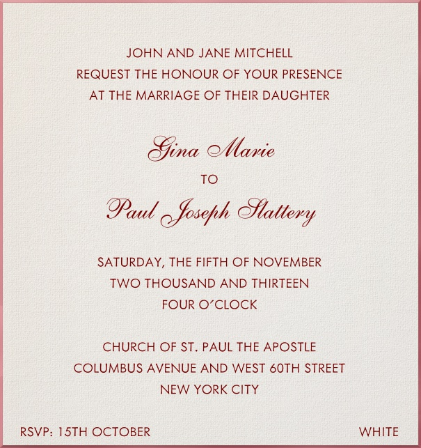 Paper color, classic Wedding Invitation Template with red border and red text.