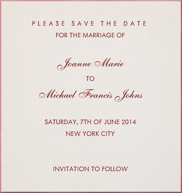 High Format paper color Classic Wedding Save the Date Card Template with Red Border and red text.