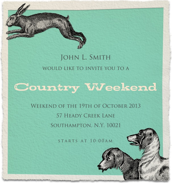 Blue Fall Themed Country Weekend Invitation with dogs and hare.