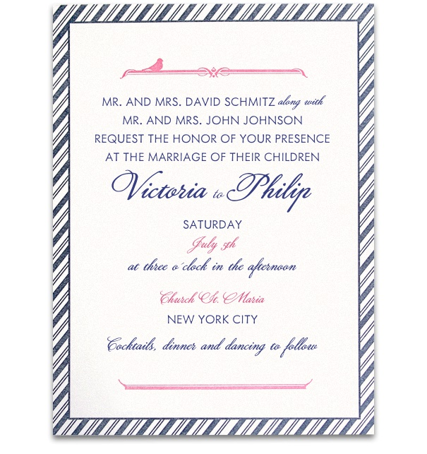 Formal Wedding Invitation with blue striped border and pink-blue text.