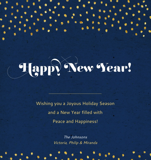 Online Card for celebrations with golden dots, dark blue background and customizable text.