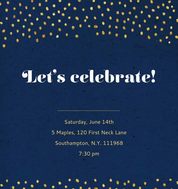 Online Invitation with golden dots, on dark blue card.