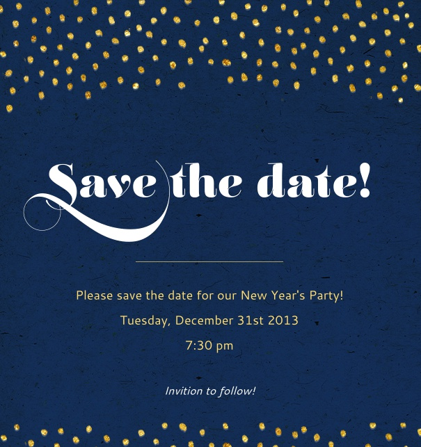 Online Save the Date Card for celebrations with golden dots, dark blue background and customizable text.
