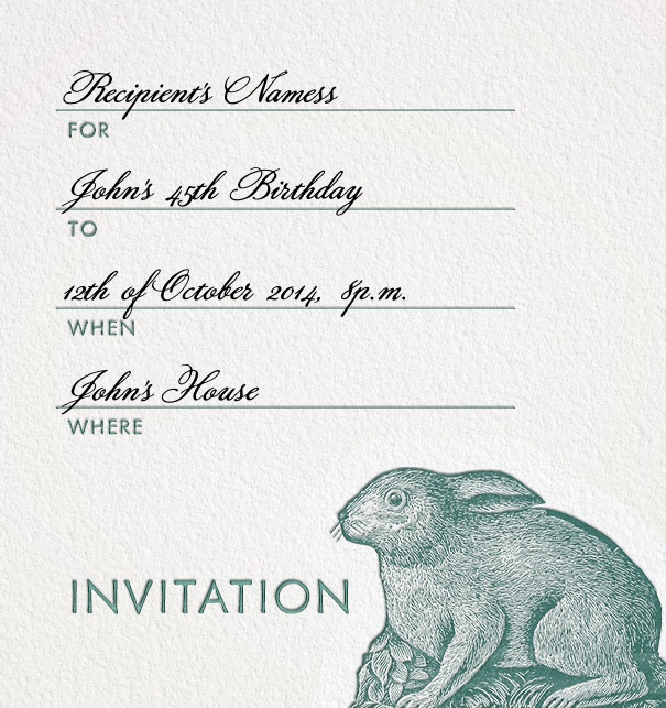 Formal Addressing Invitation online with Rabbit motif and customizable form text.