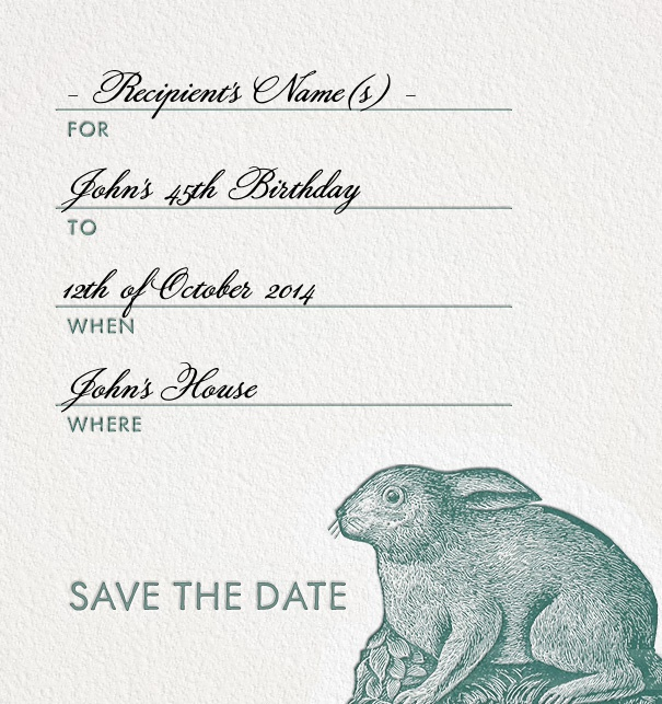 Formal Addressing Save the Date Card online with Rabbit motif and customizable form text.
