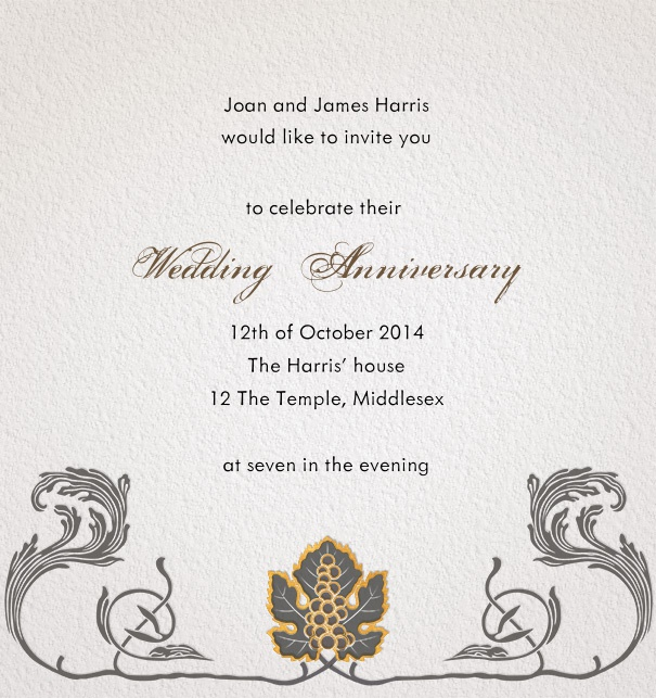 Online Invitation Card with art-deco motif and floral border for formal use.