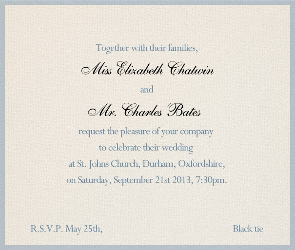 Grey, formal Wedding Invitation with blue border and editable textfield.