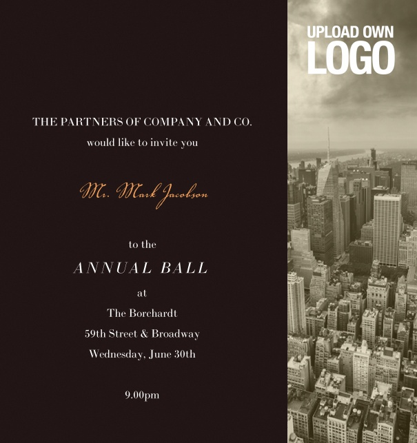 Professional Invitation for firm anniversary, with logo, annual ball and black text.