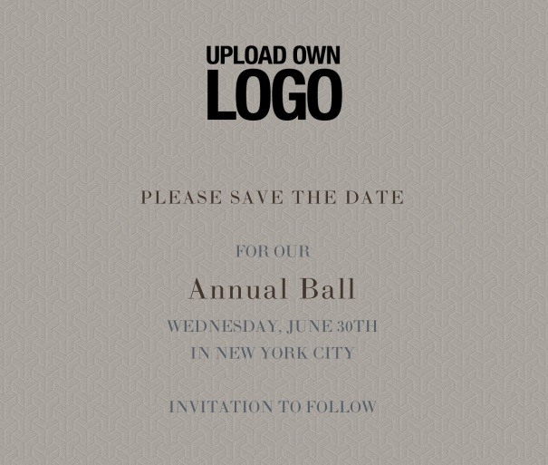 squared Online Save the Date template for corporate events and annual ball with grey background and black text with space for text and to upload own logo.