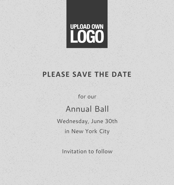 Rectangular grey online Save the Date template for corporate events and annual ball with space to upload own logo on top left and event details box.