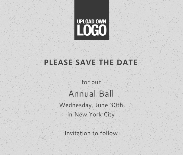 squared grey online Save the Date template for corporate events and annual ball with black text and space to upload own logo on top left and event details box.