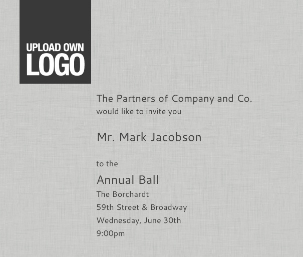 Light Grey Corporate Formal Invitation with Logo and Guest Management, for Events and Professional Functions.