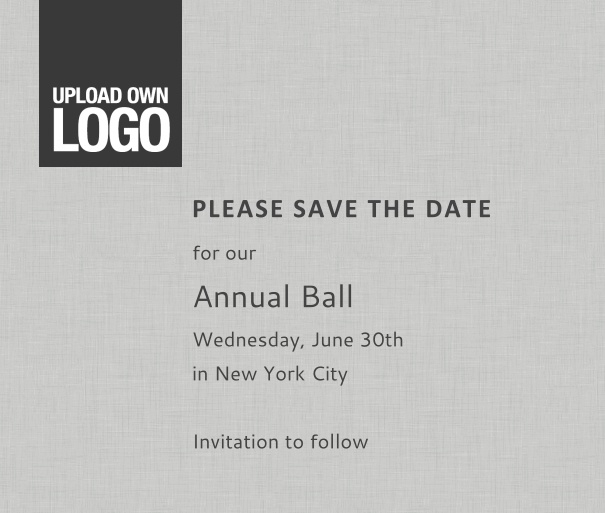 Squared online Save the Date template for corporate events and annual ball with grey background, space to upload own logo on top left and event details box.