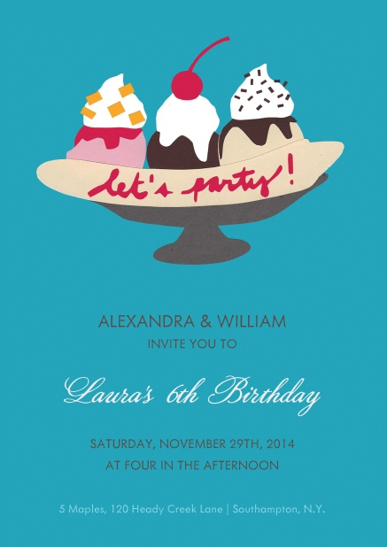 "Birthday Party Invitation Card with ice cream sundae and the fix text ""Let´s party!""."
