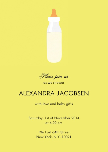 Baby Shower Card on yellow paper with baby bottle.