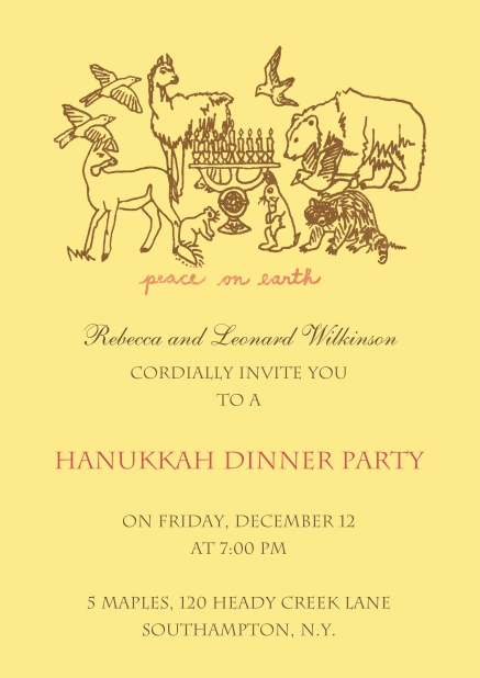 Hanukkah Invitation Card on beige background and with animals.
