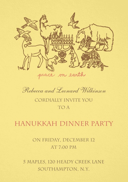 Hanukkah invitation card on beige background.