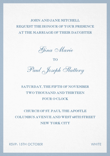 Invitation card with frame. Blue.