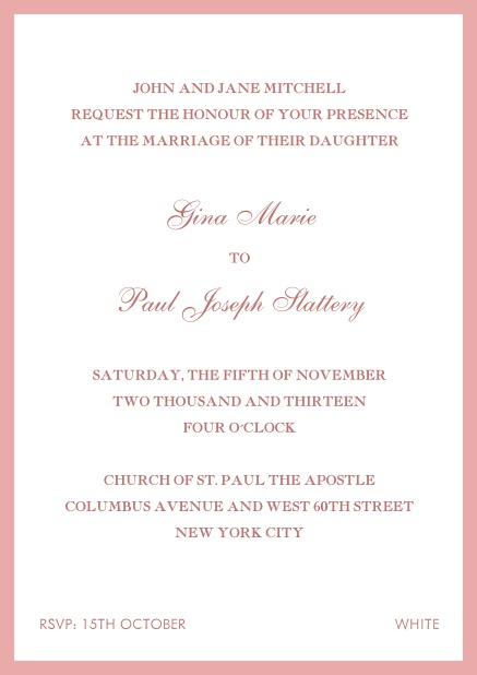 Invitation card with red frame. Pink.