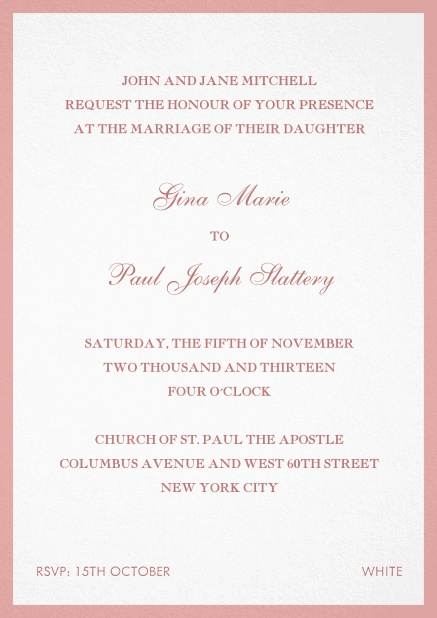 Invitation card with frame. Pink.