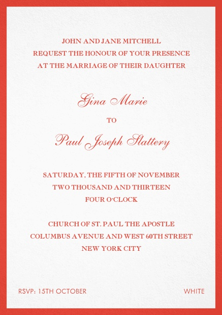 Invitation card with frame. Red.