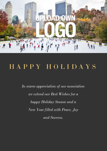 Online Corporate Christmas card with photo field and own logo option. Black.