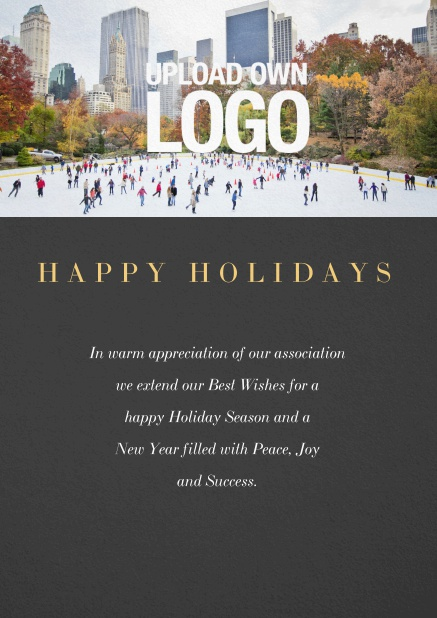 Corporate Christmas card with photo field and own logo option. Black.