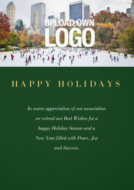 Corporate Christmas card with photo field and own logo option. Green.