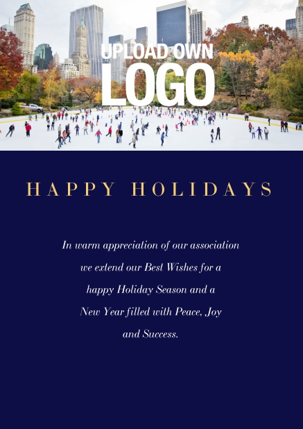 Online Corporate Christmas card with photo field and own logo option. Navy.