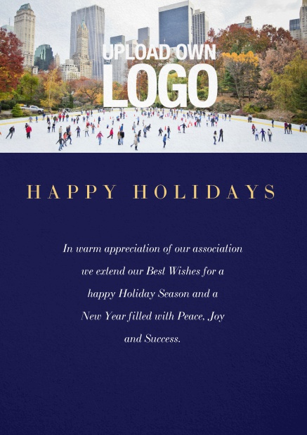 Corporate Christmas card with photo field and own logo option. Navy.