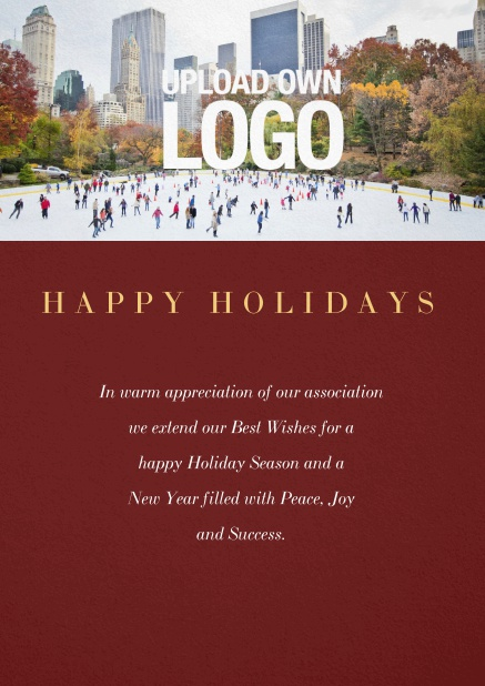 Corporate Christmas card with photo field and own logo option. Red.