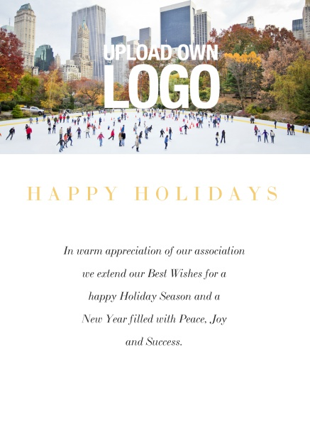 Online Corporate Christmas card with photo field and own logo option. White.