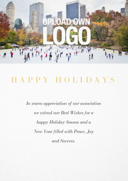 Corporate Christmas card with photo field and own logo option. White.