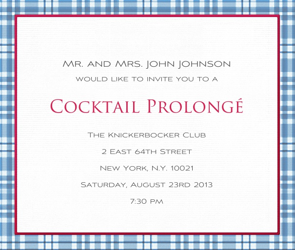 Online invitation card with blue checkered frame.