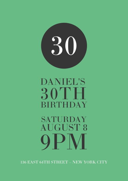 Online Green 30th Birthday Invitation Card