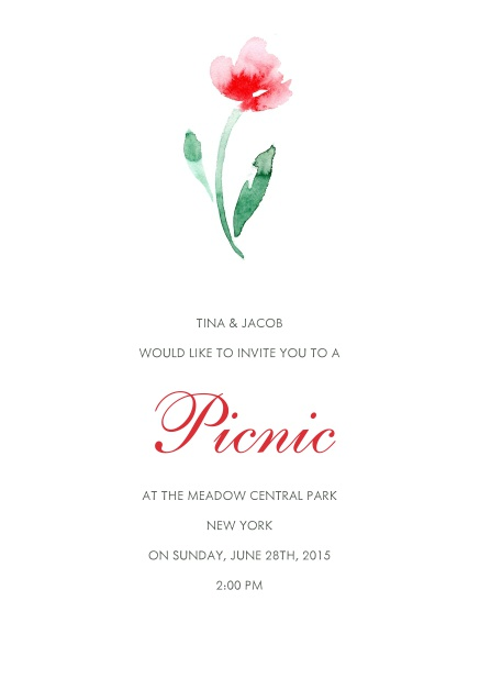 Online Invitation card with red flower