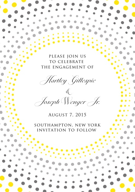 Online invitation card in Disco Fever with several, yellow-grey circles around a text field.