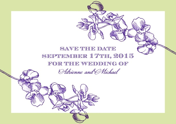 Online Save the date card with purple flowers and editable text field.