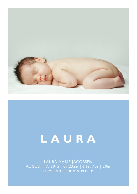 Online Birth annoucement card with large photo and colorful text feld with editable text in multiple colors. Blue.